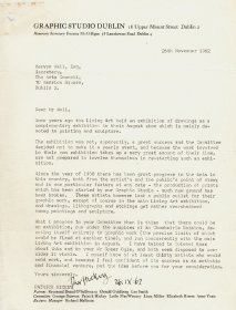 Letter from Patrick Hickey, Graphic Studio Dublin to Mervyn Wall, Secretary to the Arts Council.